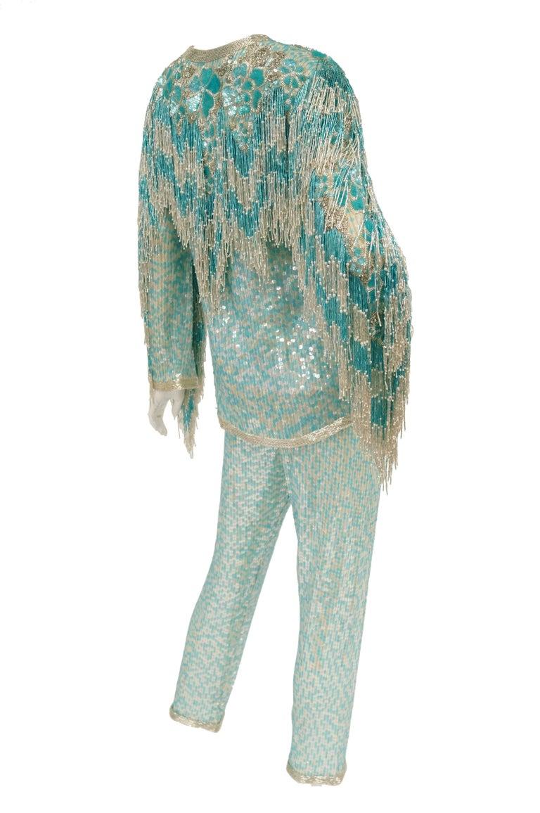 1980s Naeem Khan Silk Aqua Sequin & Beading Evening Ensemble W/ Tassel Jacket 6 For Sale 9