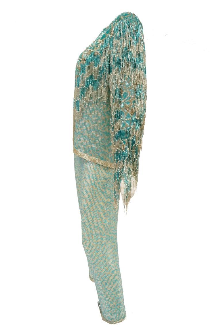 1980s Naeem Khan Silk Aqua Sequin & Beading Evening Ensemble W/ Tassel Jacket 6 For Sale 6