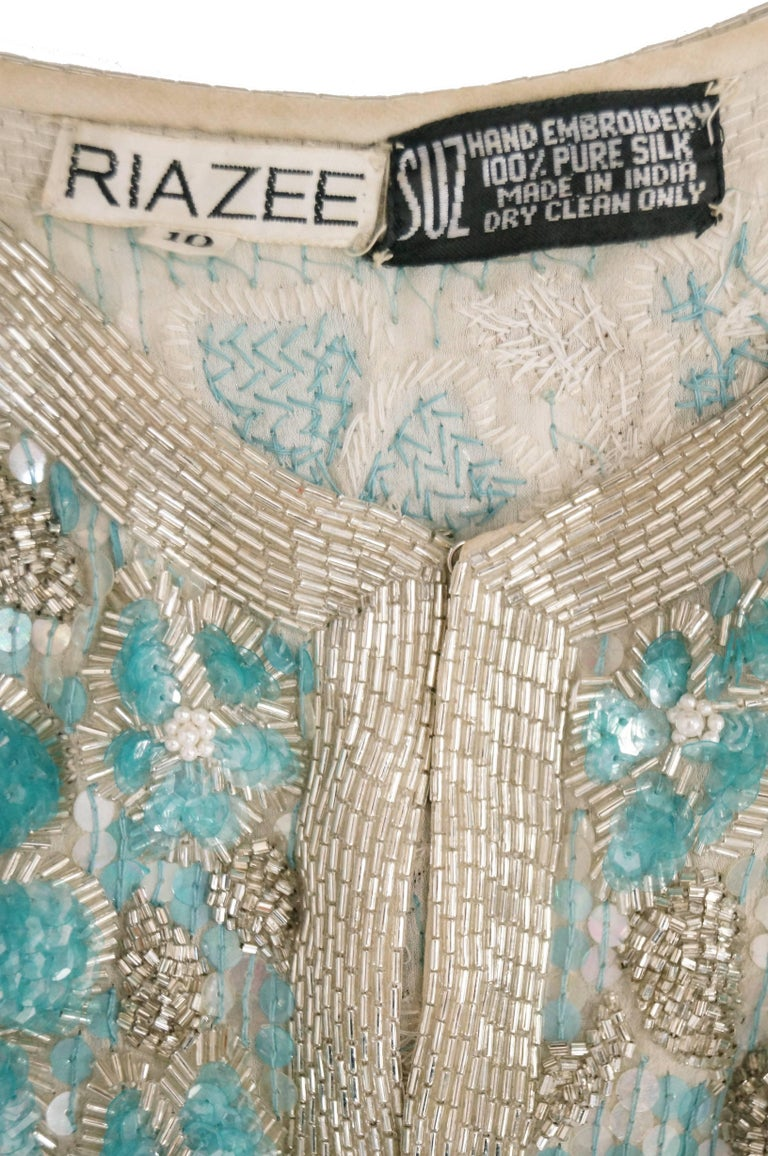 1980s Naeem Khan Silk Aqua Sequin & Beading Evening Ensemble W/ Tassel Jacket 6 For Sale 12