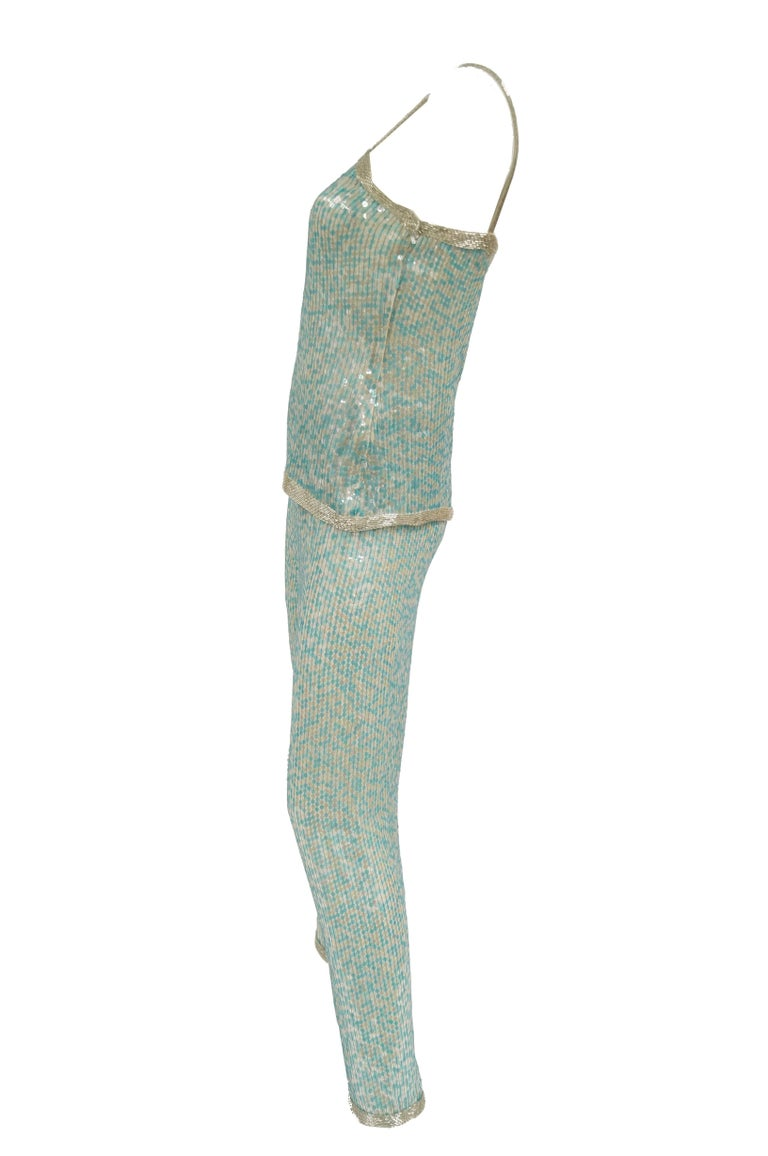 1980s Naeem Khan Silk Aqua Sequin & Beading Evening Ensemble W/ Tassel Jacket 6 For Sale 1