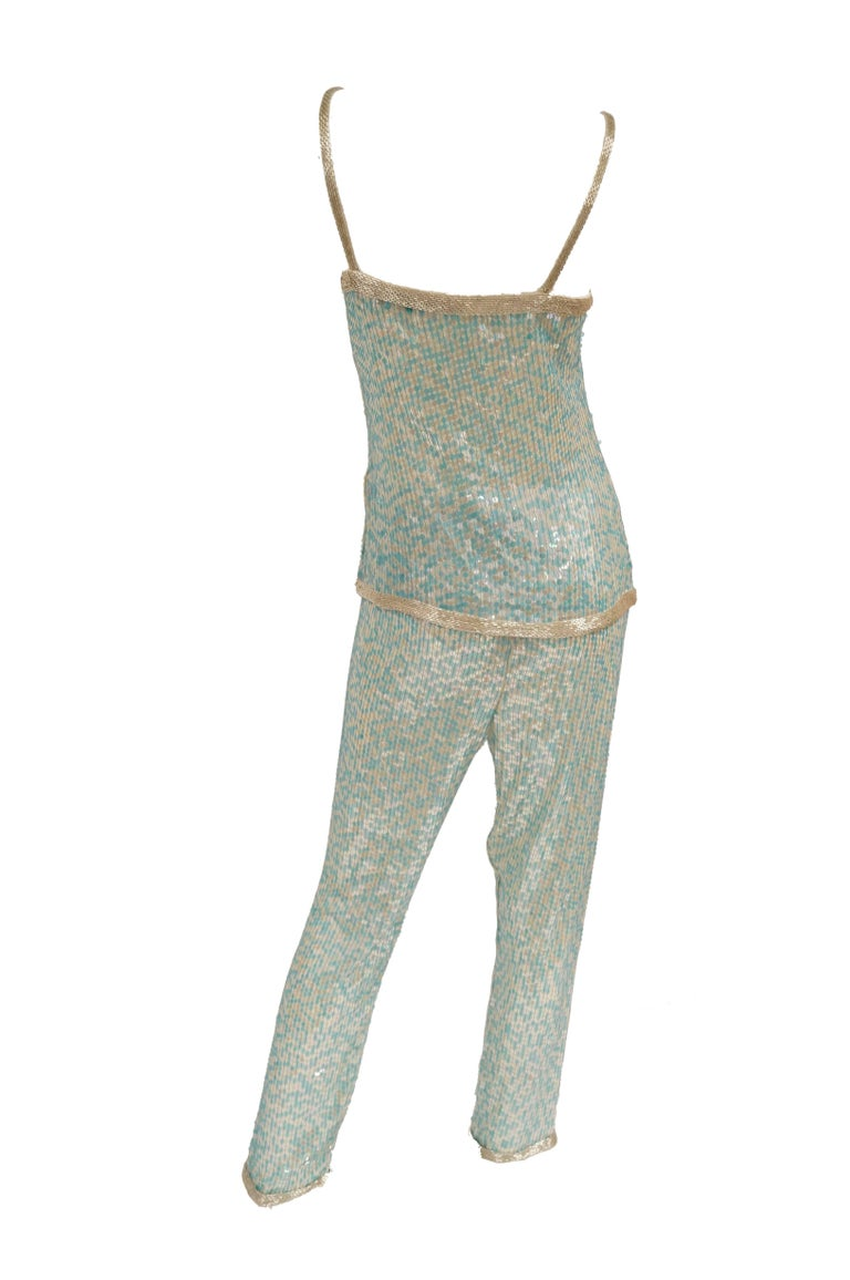1980s Naeem Khan Silk Aqua Sequin & Beading Evening Ensemble W/ Tassel Jacket 6 For Sale 2
