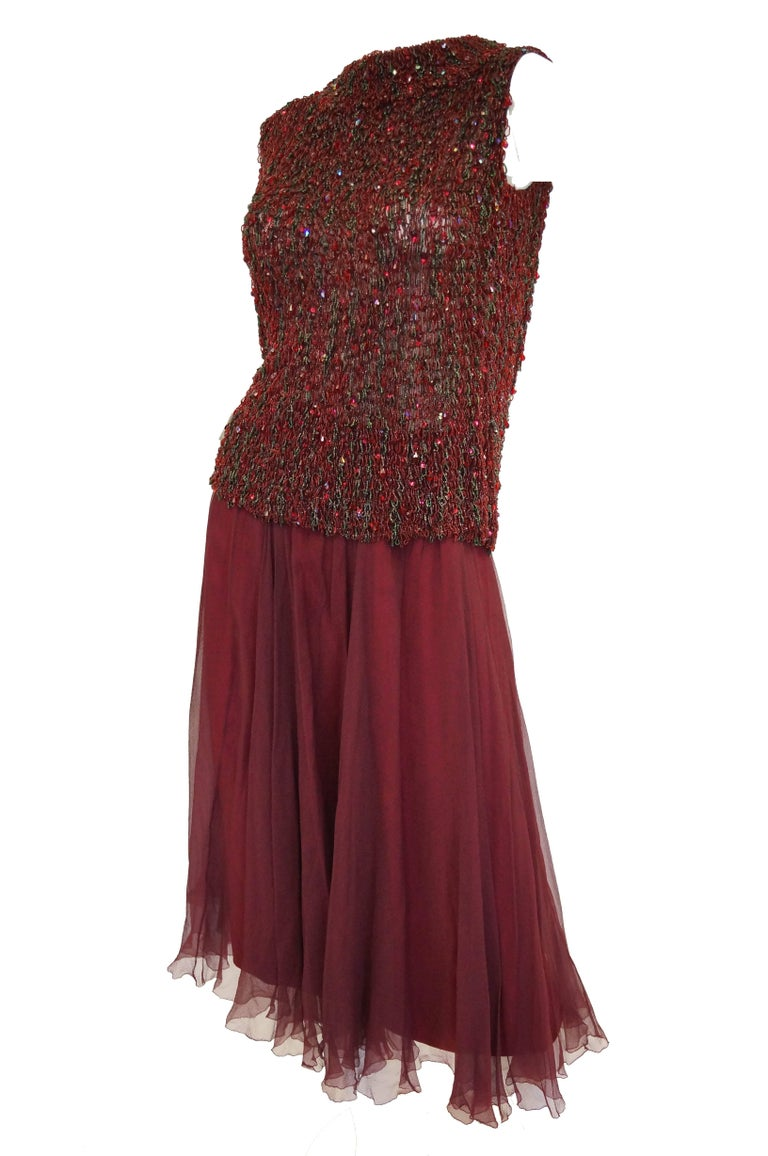 Women's Yves Saint Laurent Couture Evening Dress Owned by Claudette Colbert, 1963  For Sale