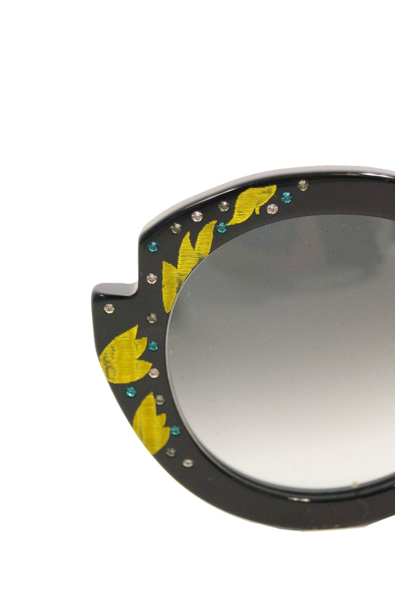 """Gray Francis Klein """"Bleuet"""" Handmade and Handpainted Sunglasses Made In France For Sale"""