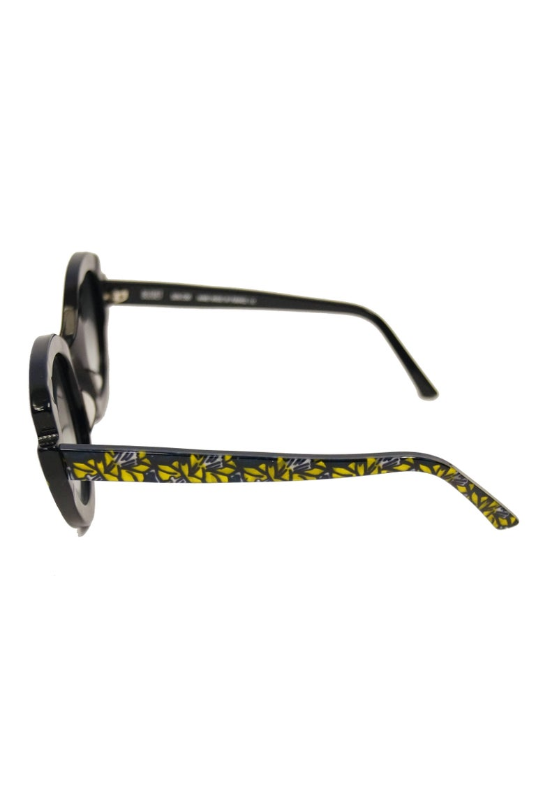 """Francis Klein """"Bleuet"""" Handmade and Handpainted Sunglasses Made In France In Excellent Condition For Sale In Houston, TX"""