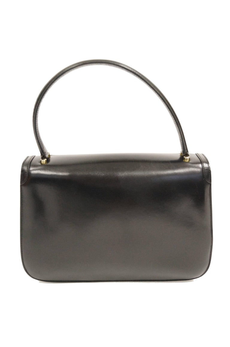 1960s Gucci Black Leather Top Handle Handbag with Crescent Lock  For Sale 2