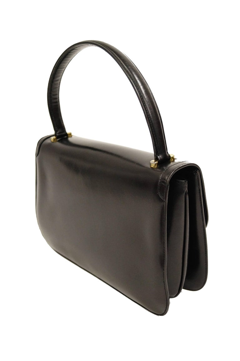 f8328721eee 1960s Gucci Black Leather Top Handle Handbag with Crescent Lock For Sale 3
