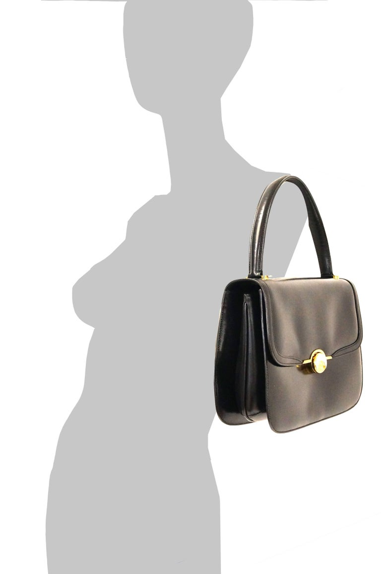 1960s Gucci Black Leather Top Handle Handbag with Crescent Lock  For Sale 9