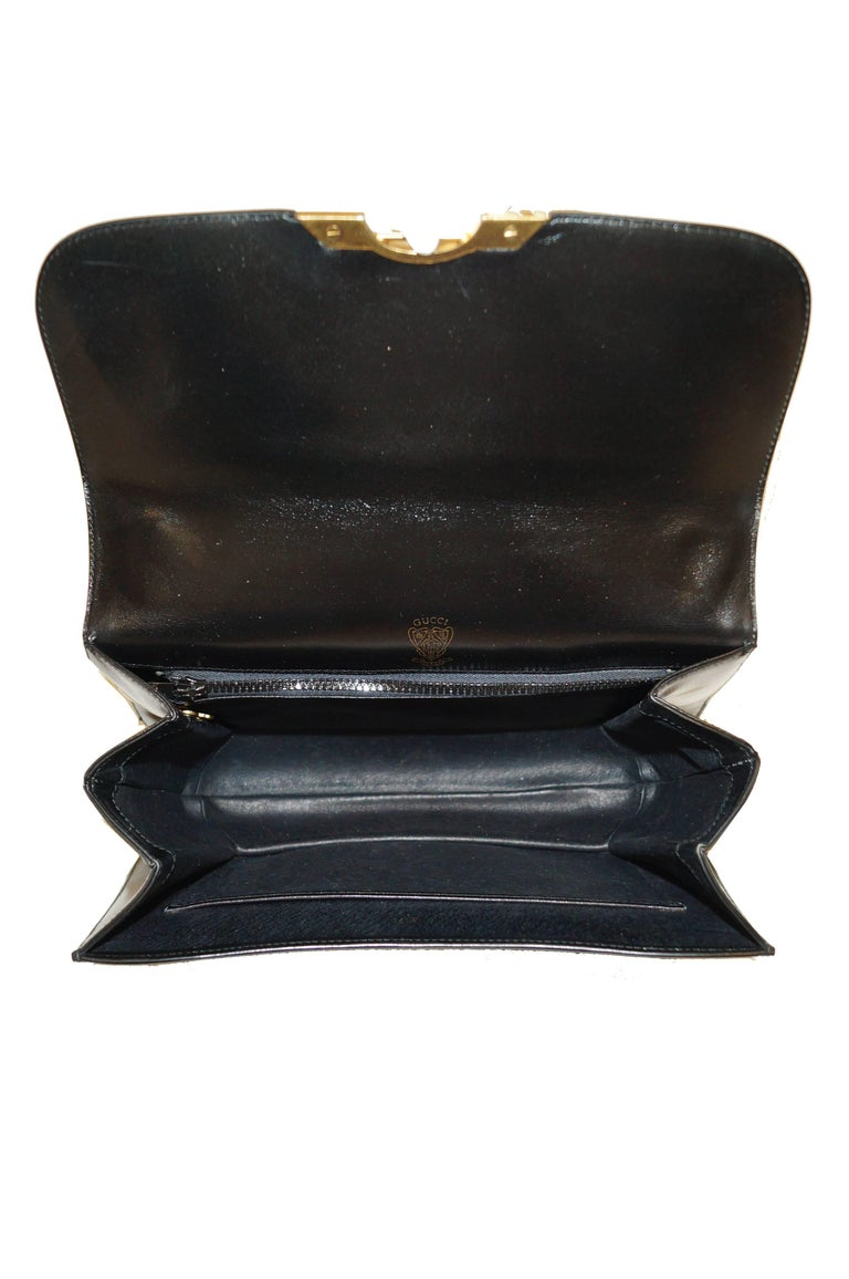 1960s Gucci Black Leather Top Handle Handbag with Crescent Lock  For Sale 7