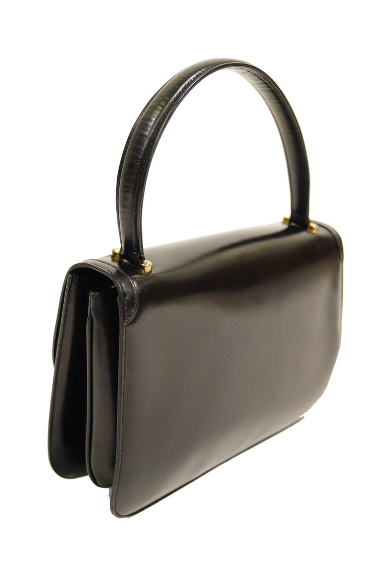 1960s Gucci Black Leather Top Handle Handbag with Crescent Lock  For Sale 1