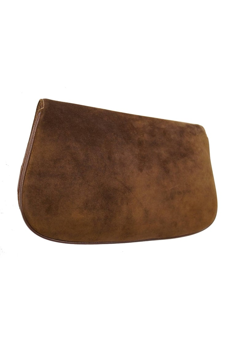 Iconic 1970s Gucci Brown Italian Suede and Leather Clutch For Sale 4