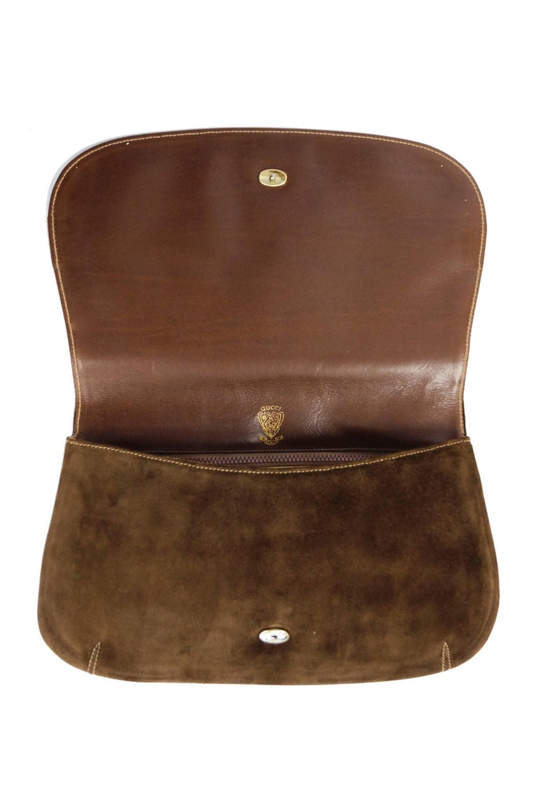 Iconic 1970s Gucci Brown Italian Suede and Leather Clutch For Sale 5