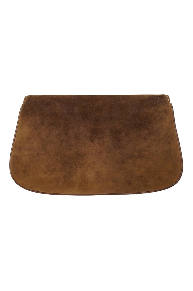 Iconic 1970s Gucci Brown Italian Suede and Leather Clutch For Sale 2