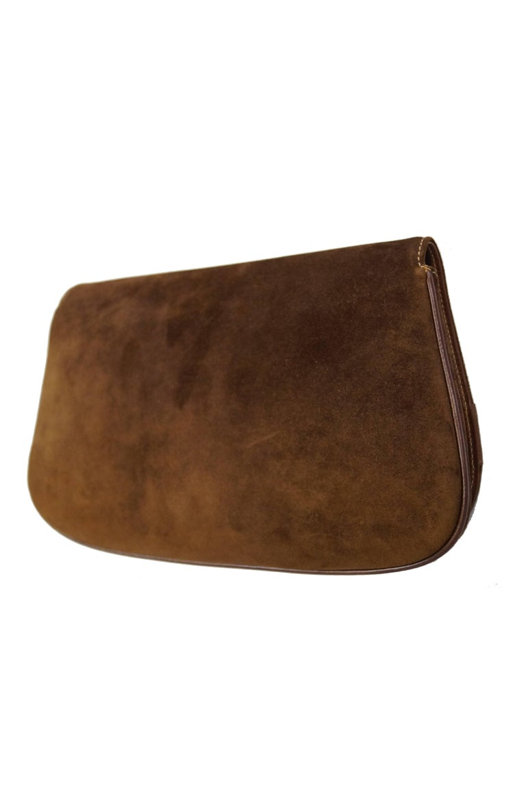 Iconic 1970s Gucci Brown Italian Suede and Leather Clutch For Sale 3