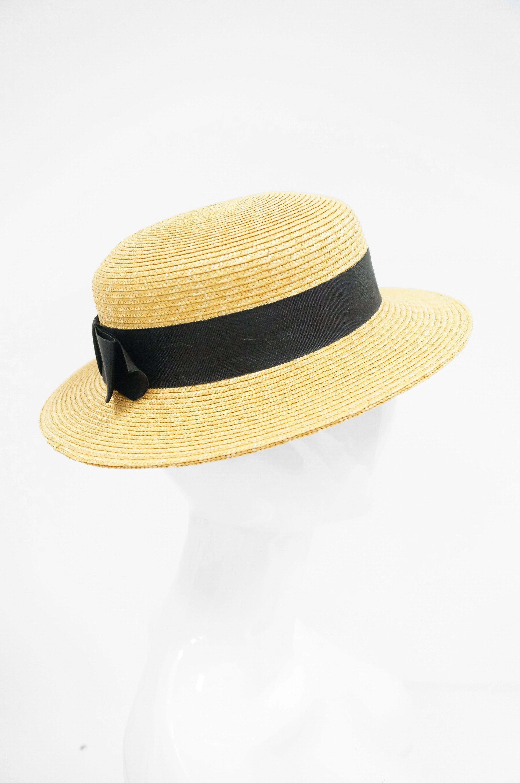 07c07e20752 Rare 1980s Yves Saint Laurent Straw Boater Hat at 1stdibs