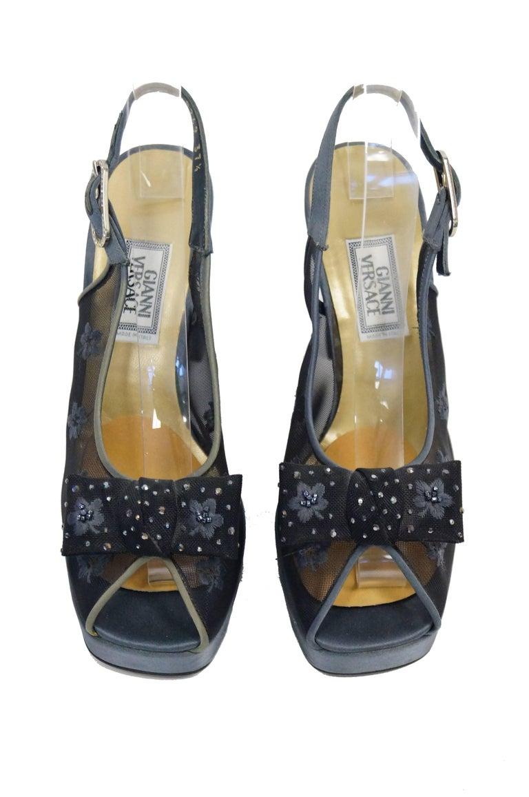 Women's Versace Slate Blue Italian Satin Peep Toe Floral Sequin Heels, 1990s  For Sale