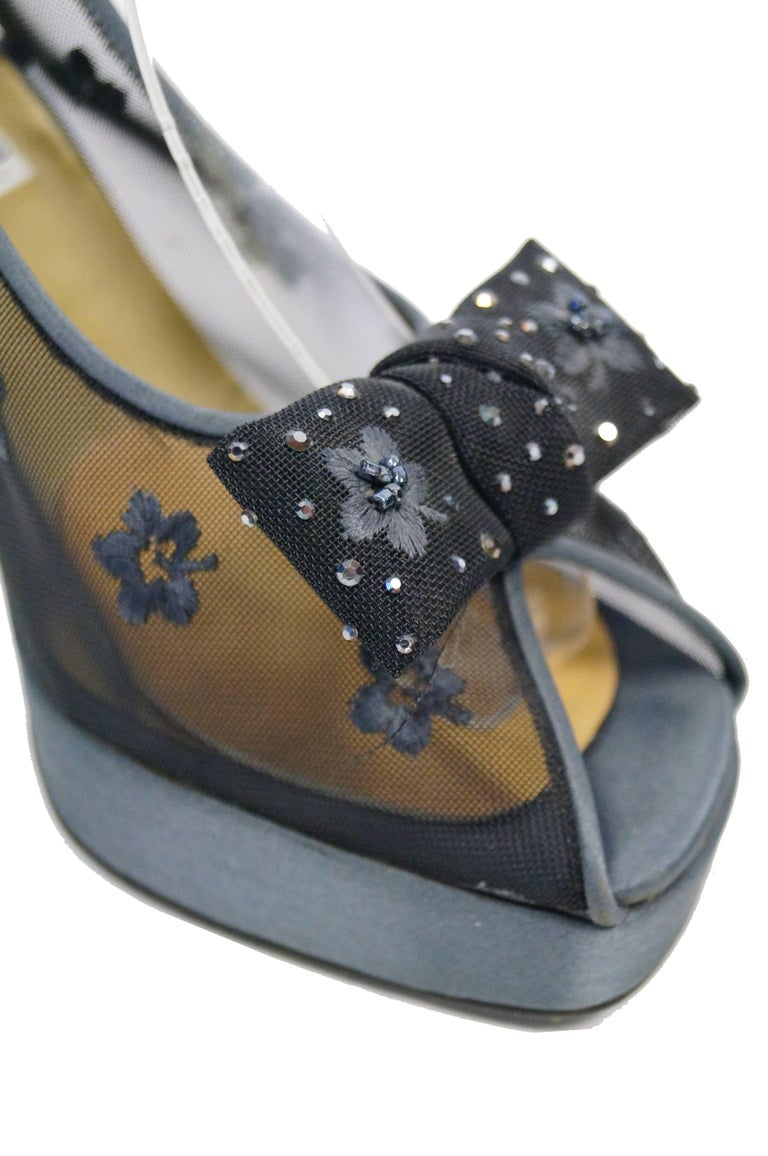 Gray Versace Slate Blue Italian Satin Peep Toe Floral Sequin Heels, 1990s  For Sale