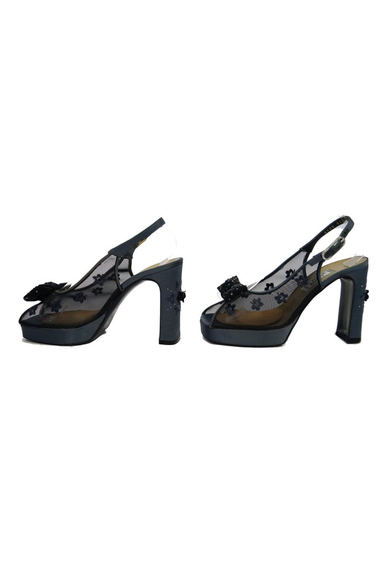 Versace Slate Blue Italian Satin Peep Toe Floral Sequin Heels, 1990s  For Sale 1