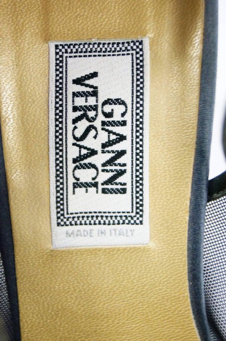 Versace Slate Blue Italian Satin Peep Toe Floral Sequin Heels, 1990s  For Sale 5