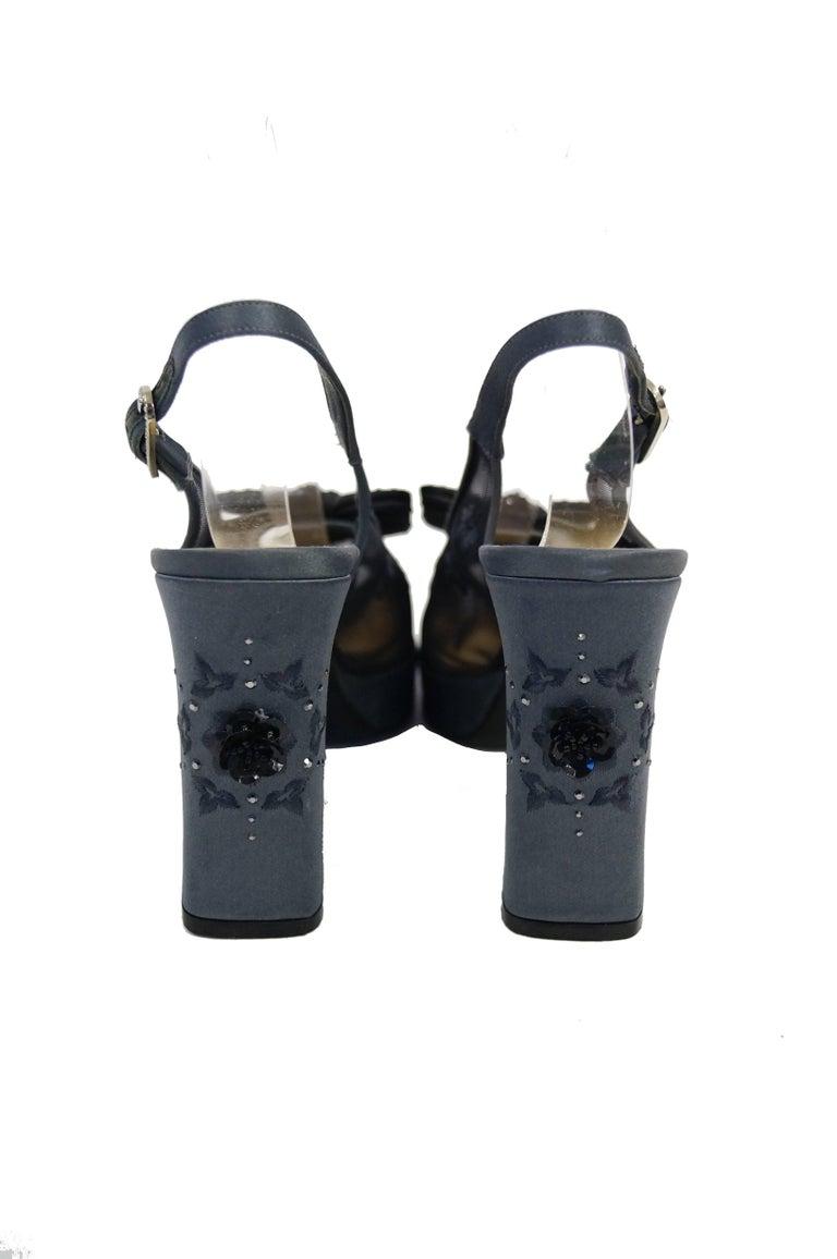 Versace Slate Blue Italian Satin Peep Toe Floral Sequin Heels, 1990s  For Sale 3