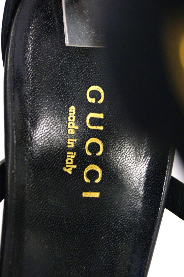 Tom Ford for Gucci Black Ankle Strap with Horsebit Logo Heels, 2000s  For Sale 6