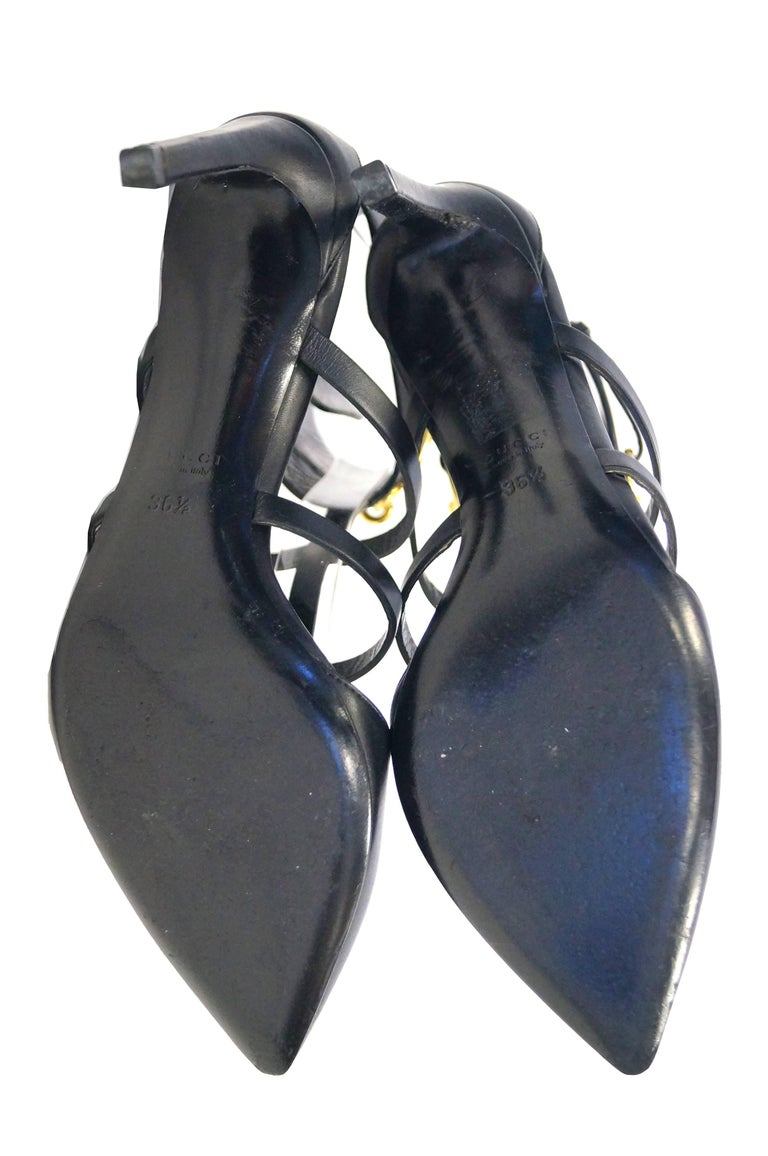 Tom Ford for Gucci Black Ankle Strap with Horsebit Logo Heels, 2000s  For Sale 4