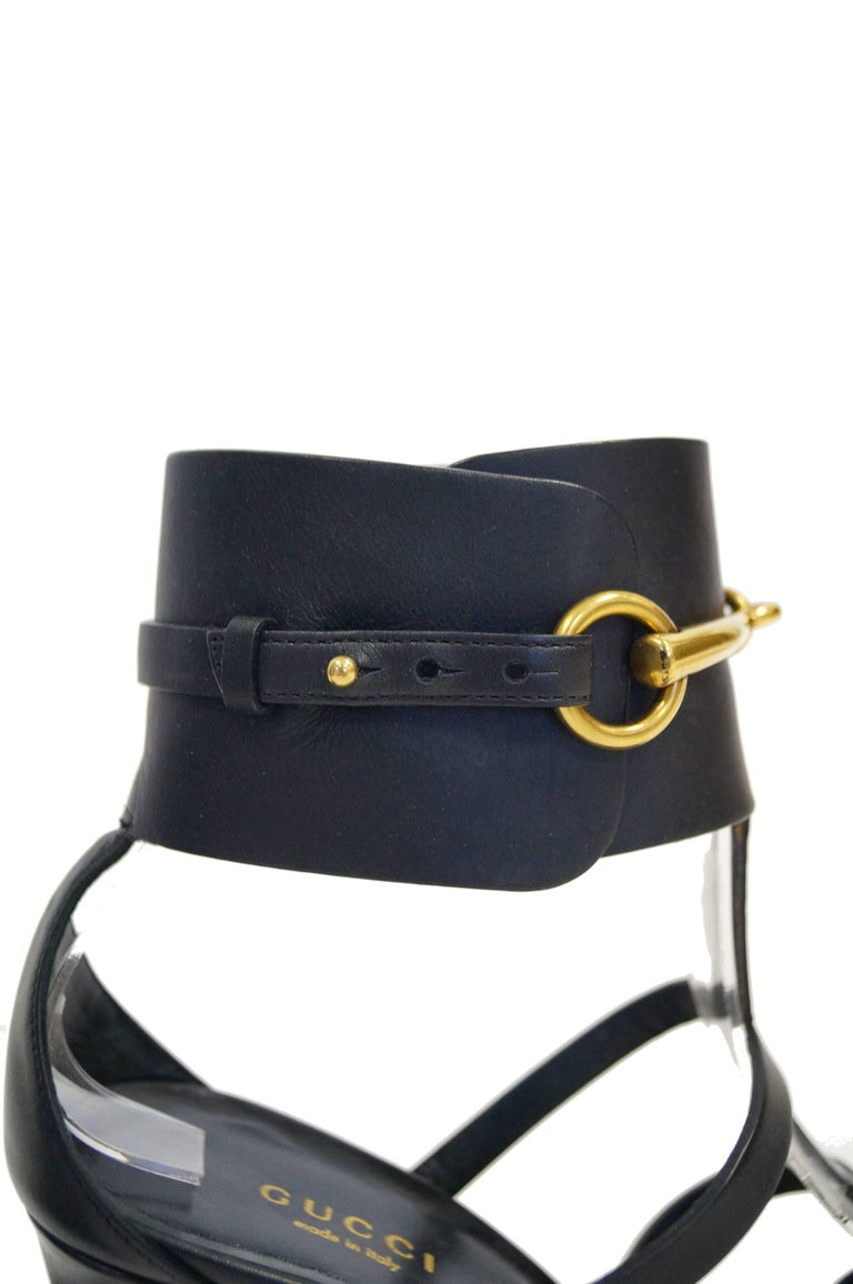 Tom Ford for Gucci Black Ankle Strap with Horsebit Logo Heels, 2000s  For Sale 2