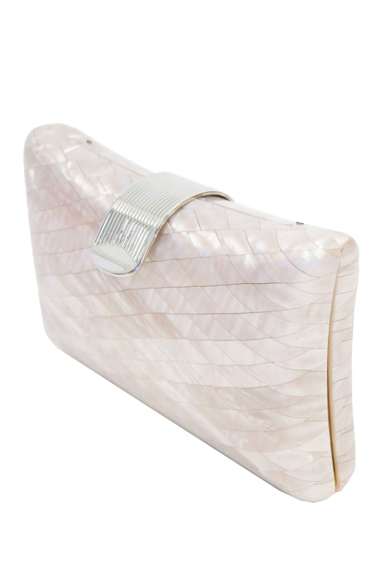 Beige 1950s Lisette Mother of Pearl and Lucite Clutch Made in Italy  For Sale