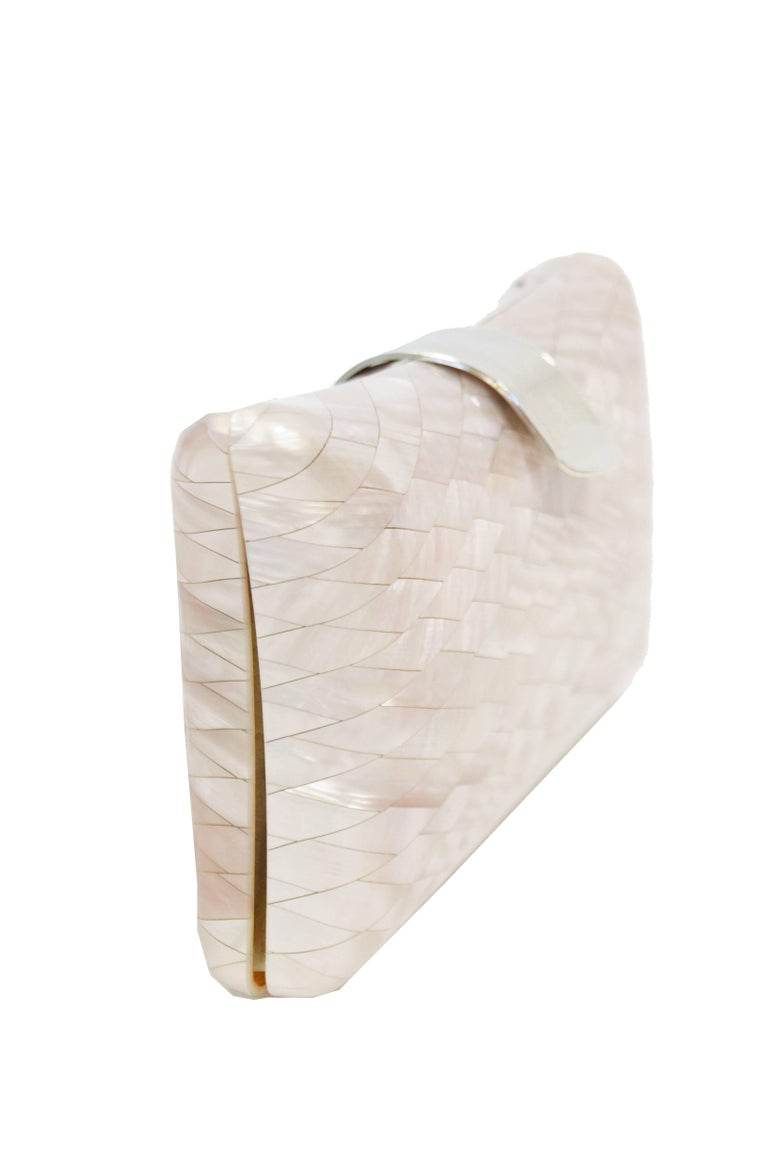 Women's 1950s Lisette Mother of Pearl and Lucite Clutch Made in Italy  For Sale