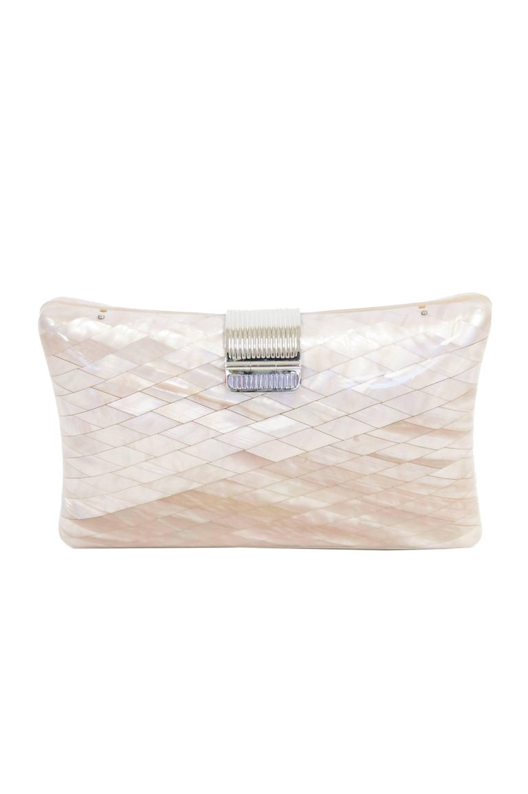 1950s Lisette Mother of Pearl and Lucite Clutch Made in Italy  For Sale 1