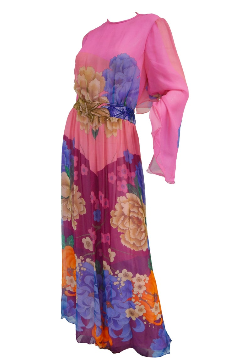 Hanae Mori Silk Floral Jumpsuit, 1970s  In Good Condition For Sale In Houston, TX