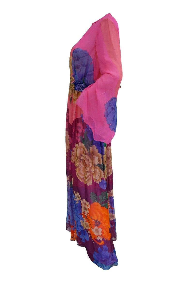 Women's Hanae Mori Silk Floral Jumpsuit, 1970s  For Sale
