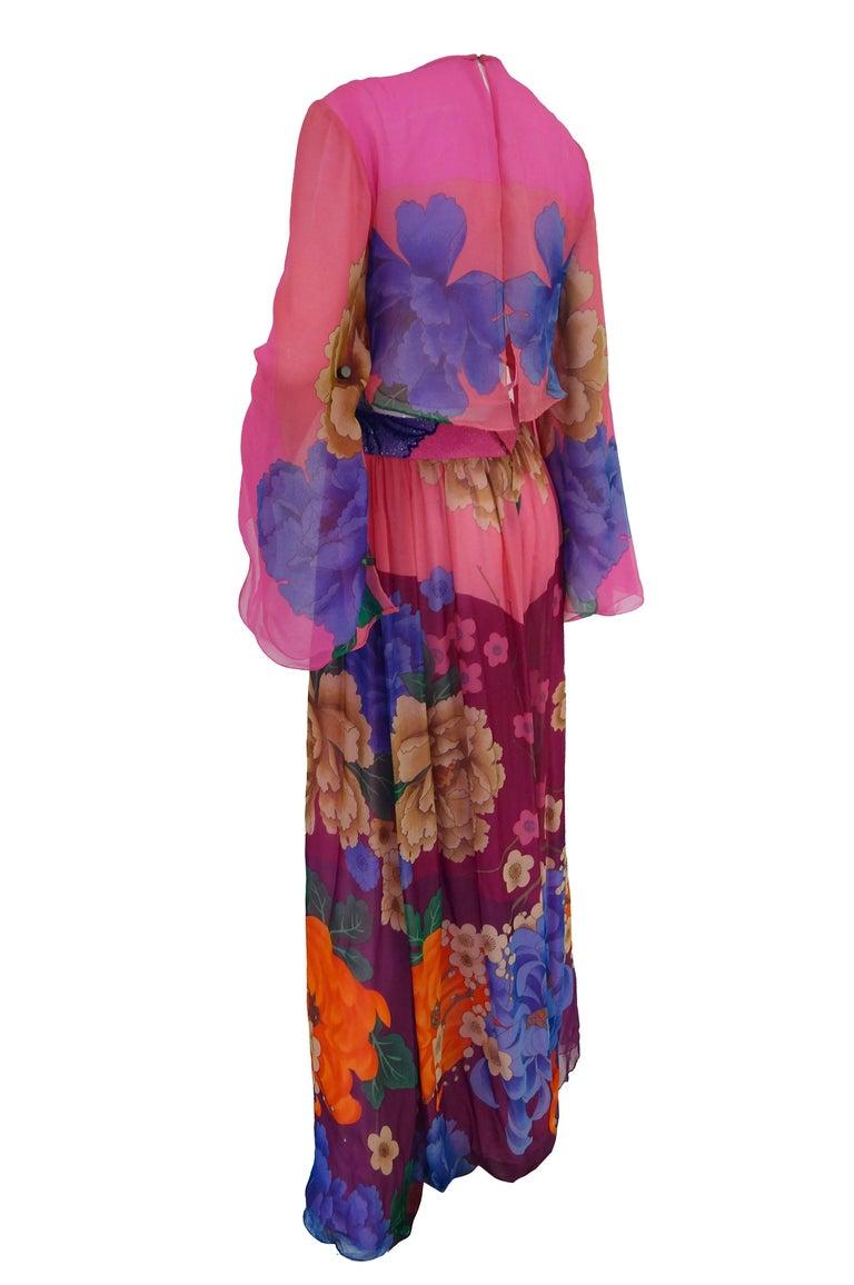 Hanae Mori Silk Floral Jumpsuit, 1970s  For Sale 1