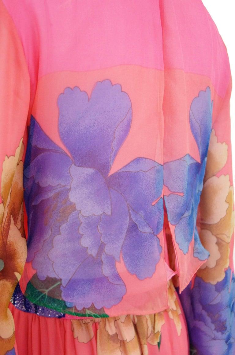 Hanae Mori Silk Floral Jumpsuit, 1970s  For Sale 2