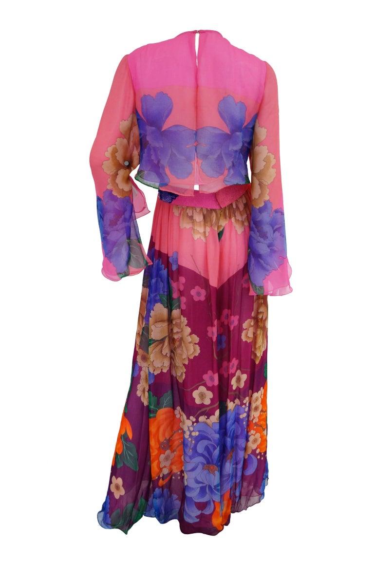 Hanae Mori Silk Floral Jumpsuit, 1970s  For Sale 3