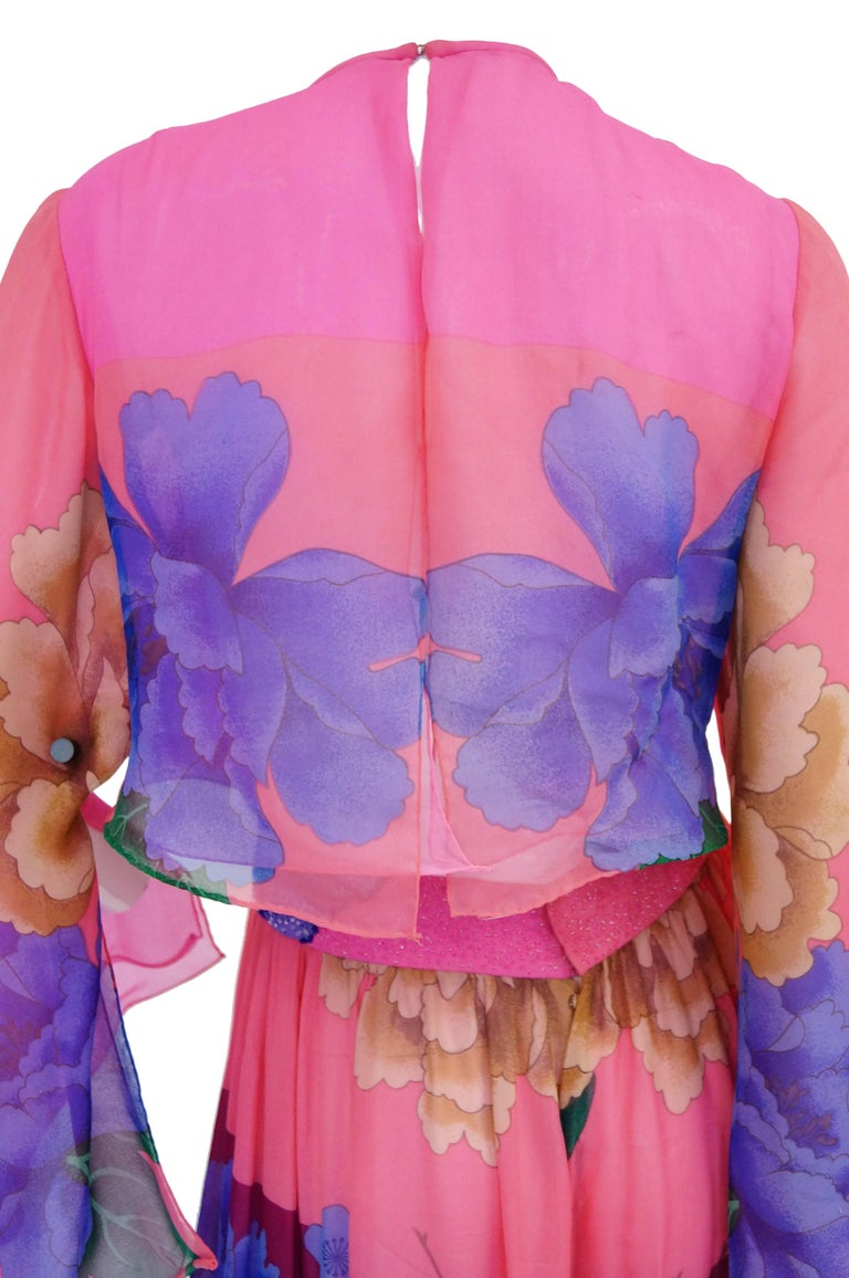 Hanae Mori Silk Floral Jumpsuit, 1970s  For Sale 4
