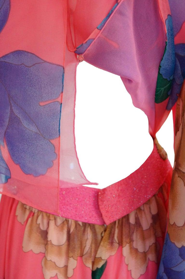 Hanae Mori Silk Floral Jumpsuit, 1970s  For Sale 5
