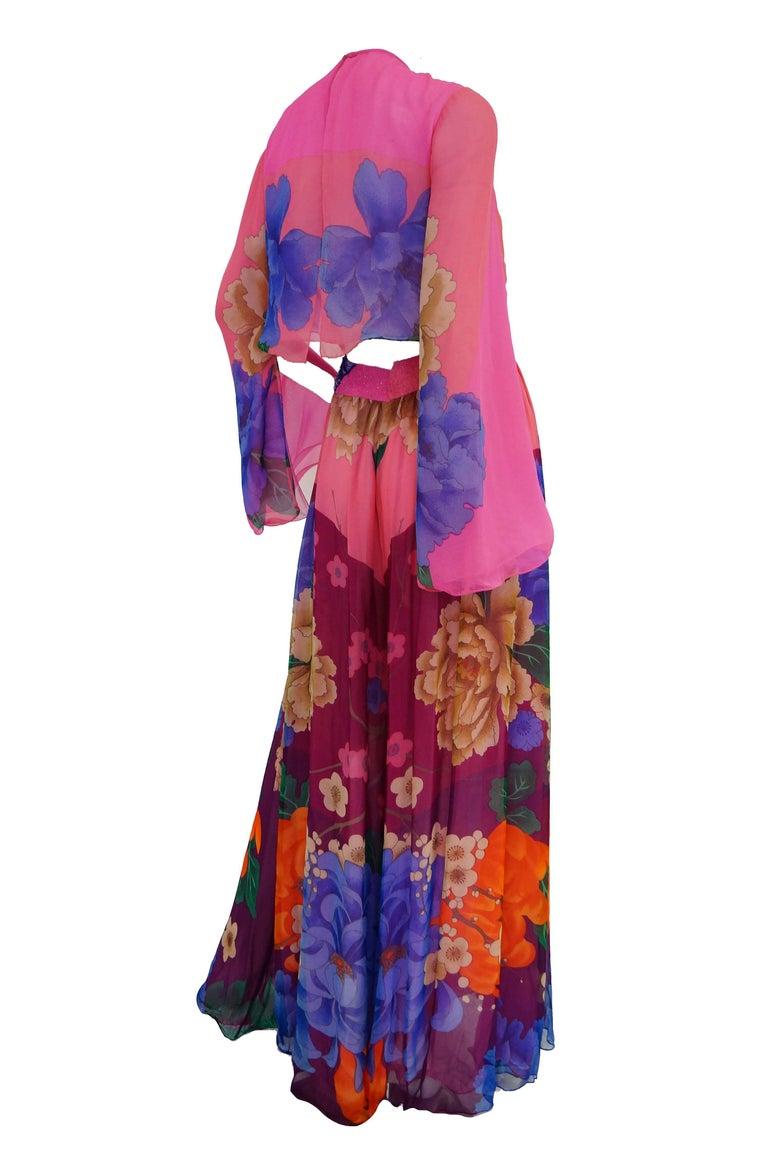 Hanae Mori Silk Floral Jumpsuit, 1970s  For Sale 6