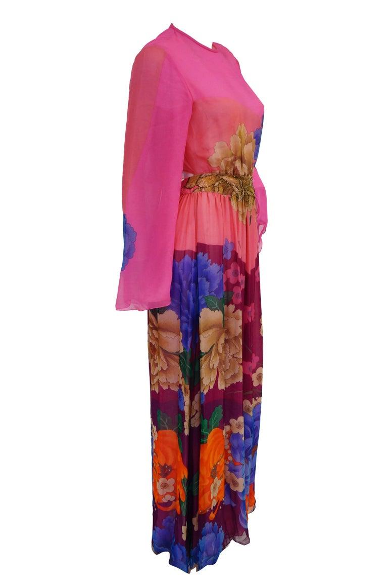 Hanae Mori Silk Floral Jumpsuit, 1970s  For Sale 7