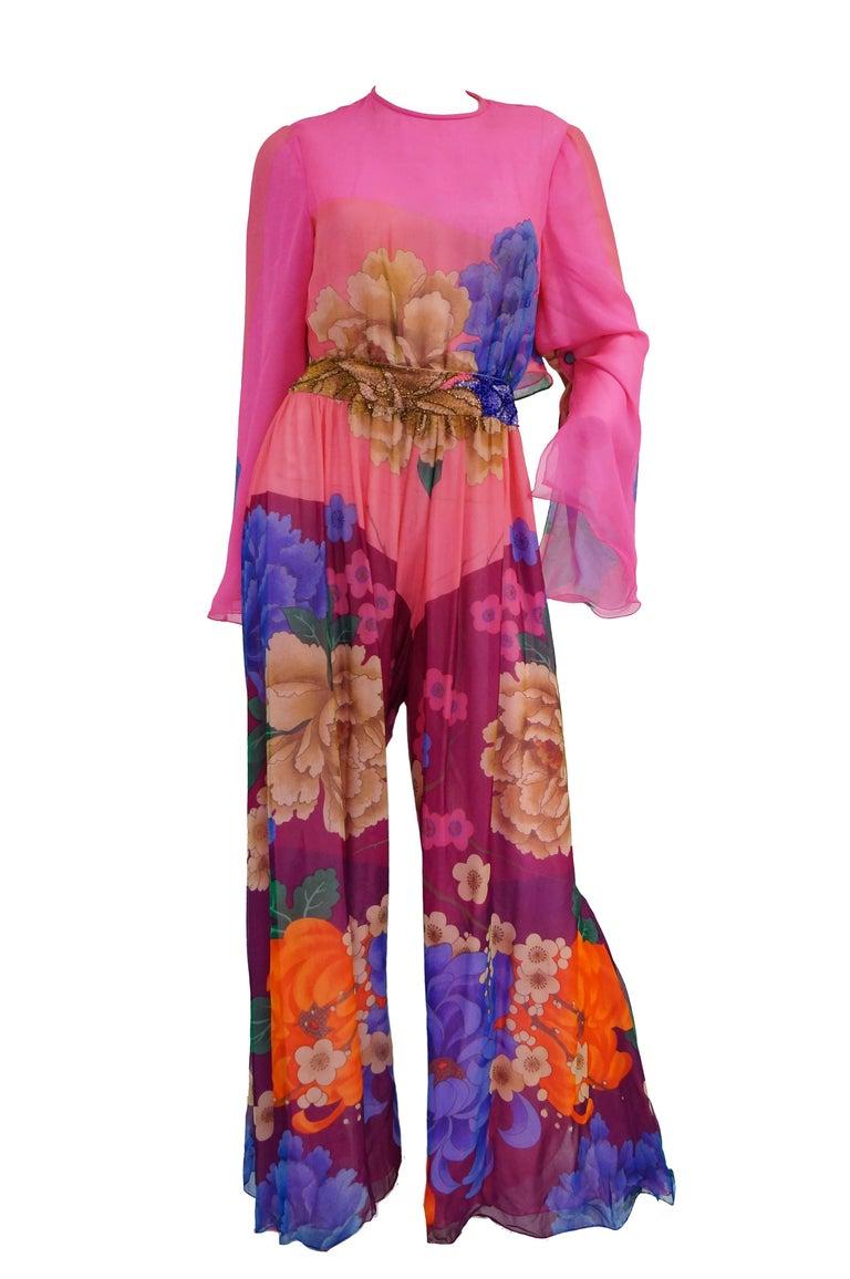 Hanae Mori Silk Floral Jumpsuit, 1970s  For Sale 8
