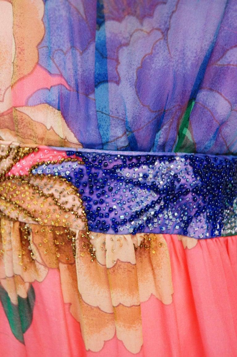Hanae Mori Silk Floral Jumpsuit, 1970s  For Sale 9