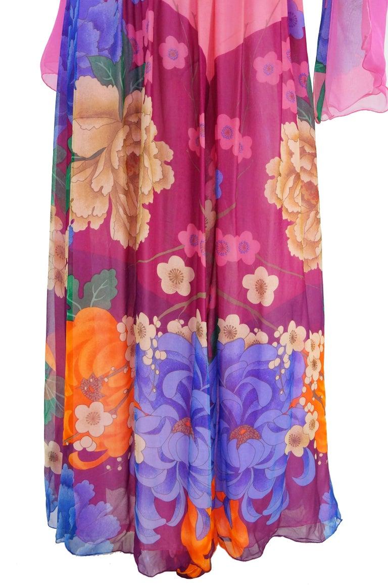 Hanae Mori Silk Floral Jumpsuit, 1970s  For Sale 10