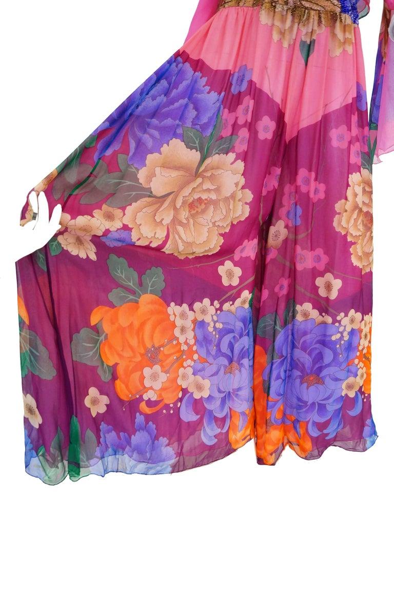 Hanae Mori Silk Floral Jumpsuit, 1970s  For Sale 11