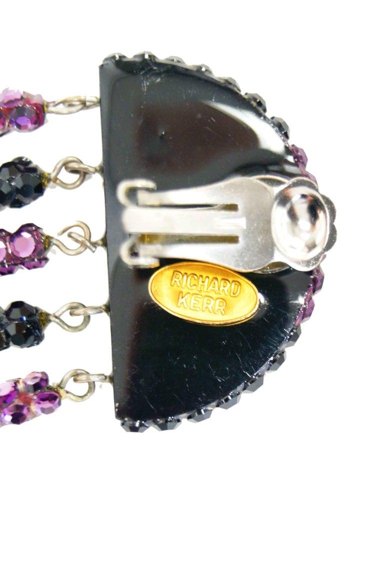 Women's or Men's 1980s Richard Kerr Art Deco Rhinestone Fringe Earrings For Sale