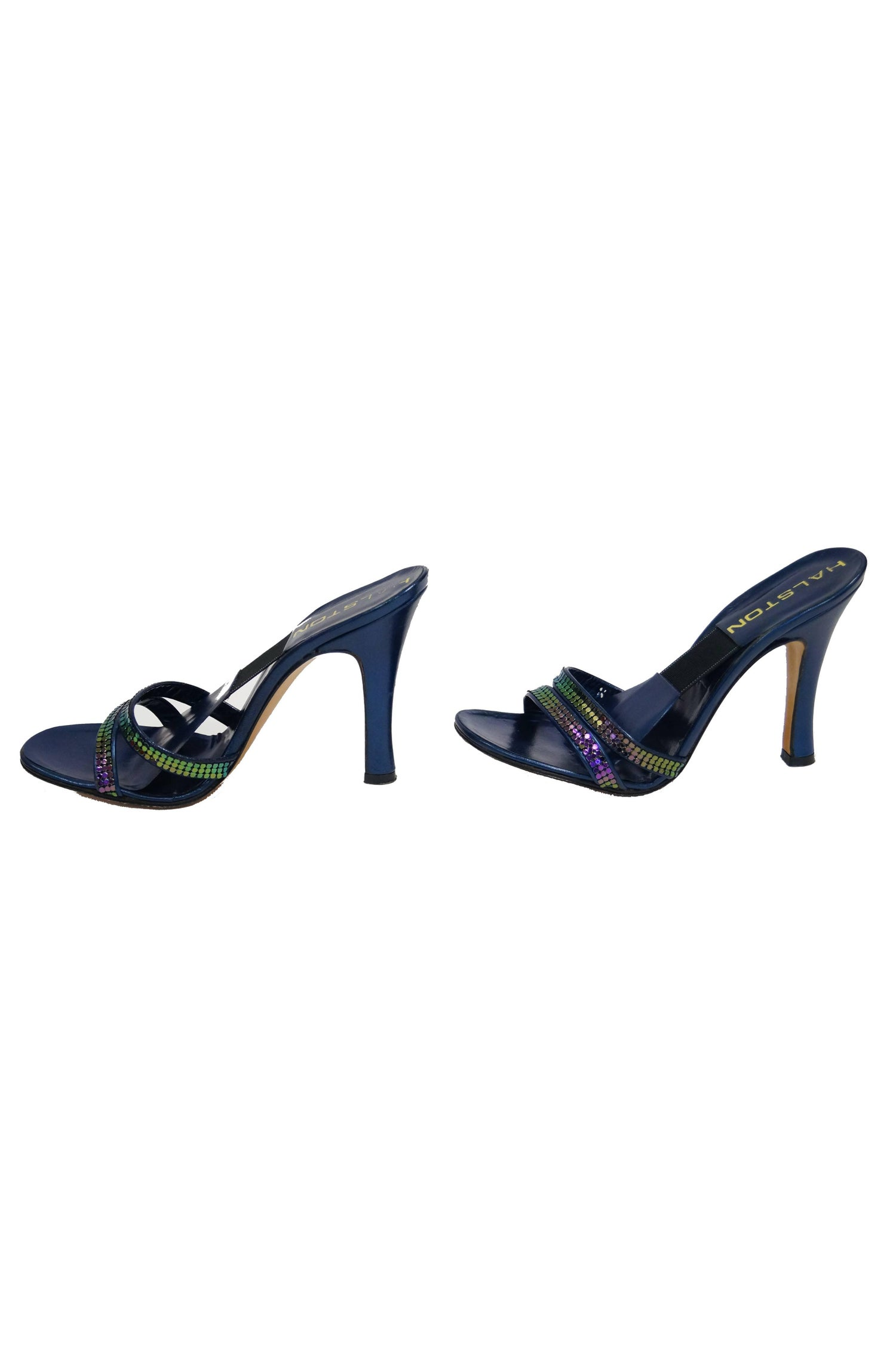 82c079d55f70 Iconic 1970s Halston Navy with Iridescent Mesh Strap Accent Heel For Sale  at 1stdibs