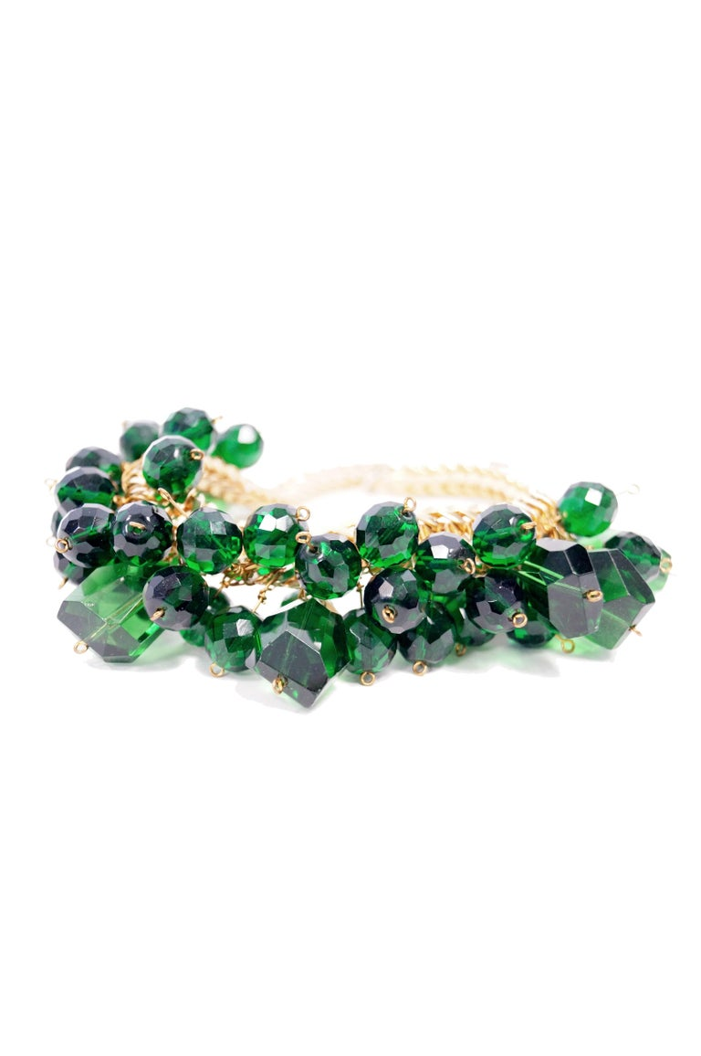 1960s Accessocraft Green Cut Glass Cluster Necklace For Sale 1