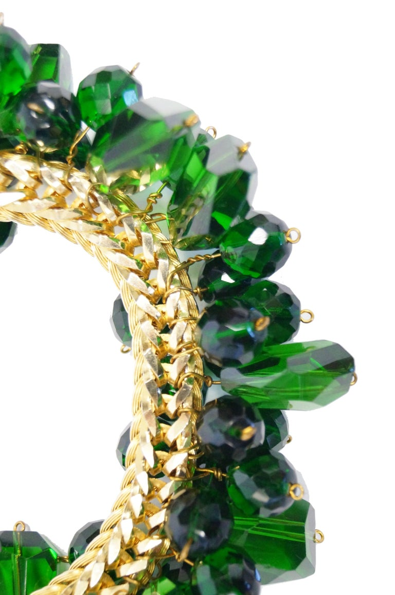 Women's 1960s Accessocraft Green Cut Glass Cluster Necklace For Sale