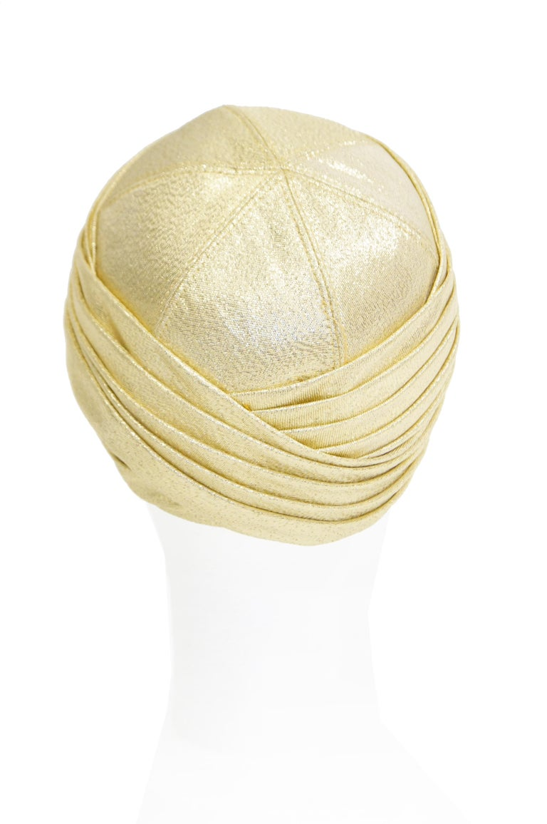 White Pierre Cardin Gold Metallic Turban, 1950s  For Sale