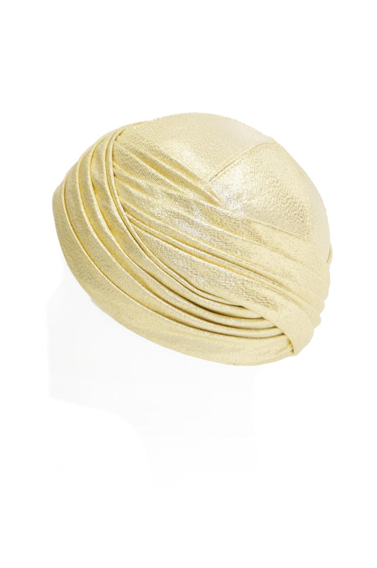 Pierre Cardin Gold Metallic Turban, 1950s  In Excellent Condition For Sale In Houston, TX