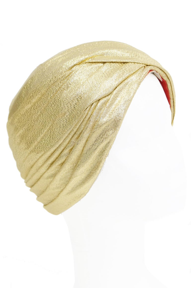 Women's Pierre Cardin Gold Metallic Turban, 1950s  For Sale