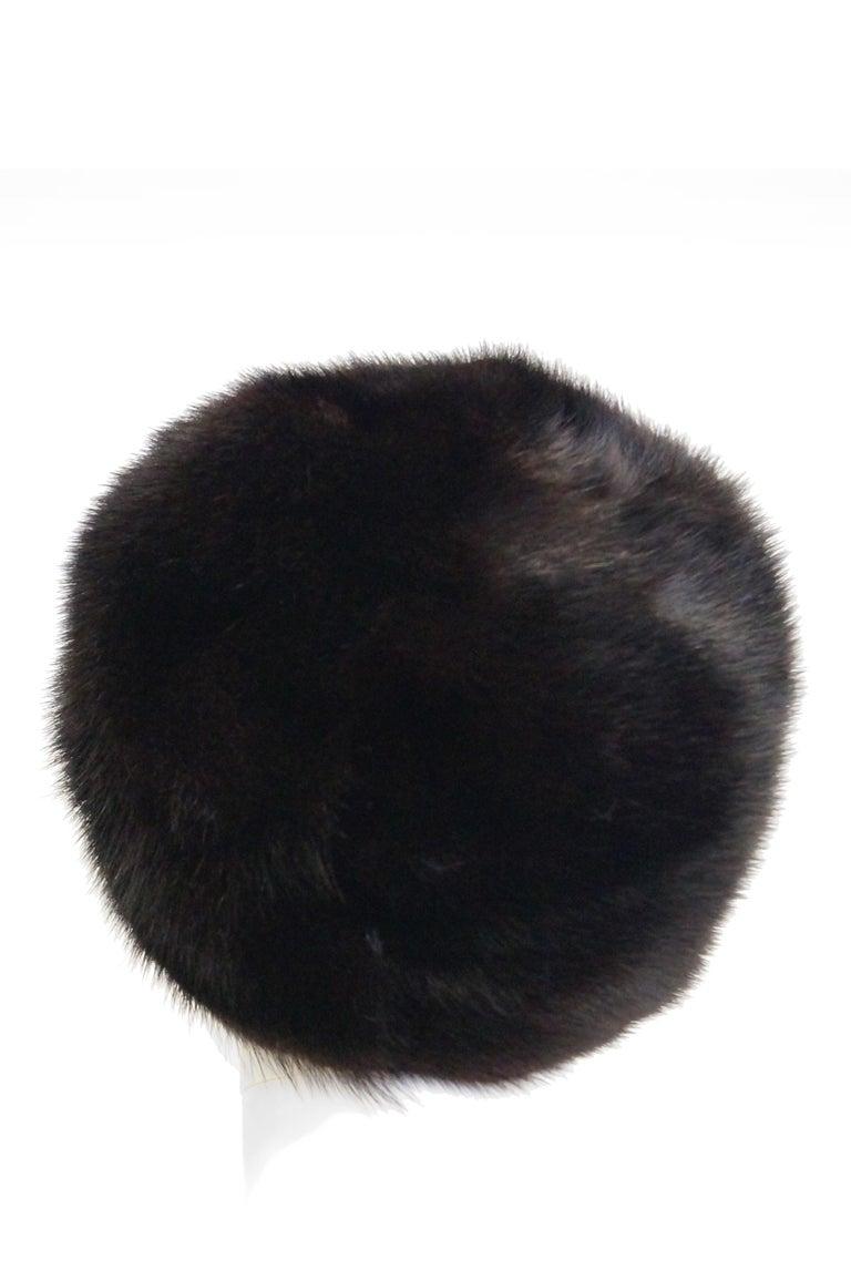 Black Dior Mink Chapeau Fur Hat, 1950s  For Sale